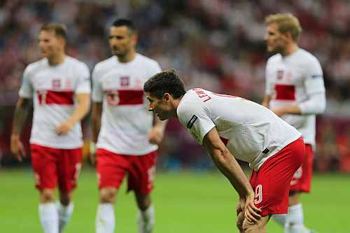 Robert Lewandowski of Poland looks on during the UEFA EURO 2012 group A match between Poland and Greece at National Stadium
