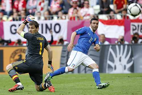 Italy's Antonio Di Natale scores a goal past Spain's goalkeeper Iker Casillas (L) during their Group C Euro 2012 soccer match at the PGE Arena