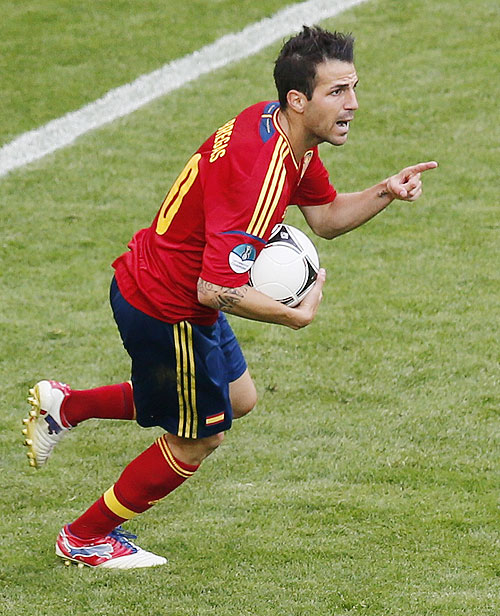 Spain's Cesc Fabregas celebrates after scoring against Italy