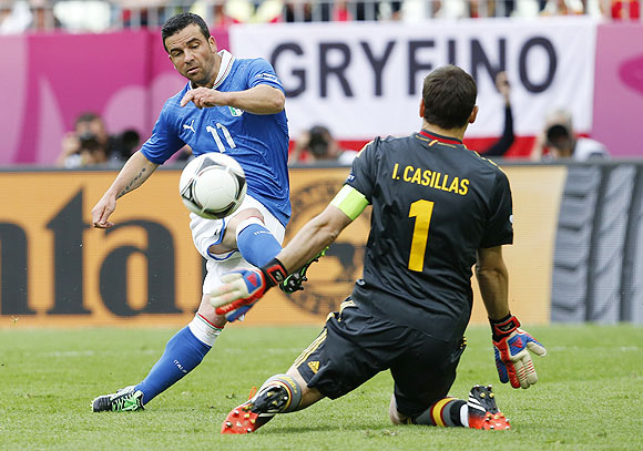 Italy's Antonio Di Natale scores past Spain's goalkeeper Iker Casillas