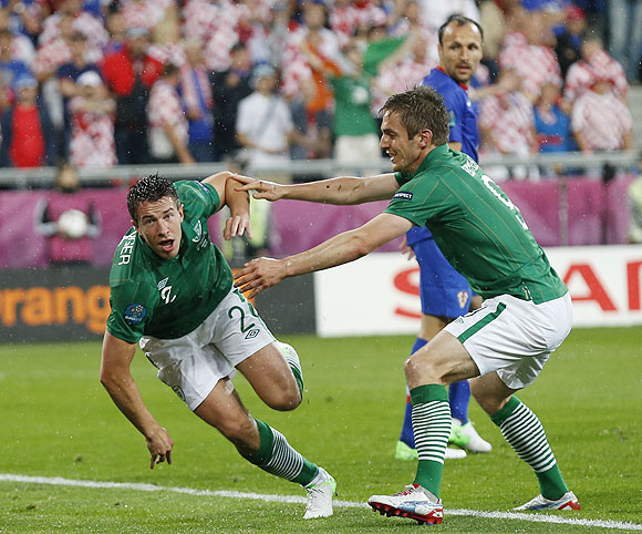 Ireland's Sean St Ledger celebrates with teammate Kevin Doyle (right)  after scoring the equaliser against Croatia