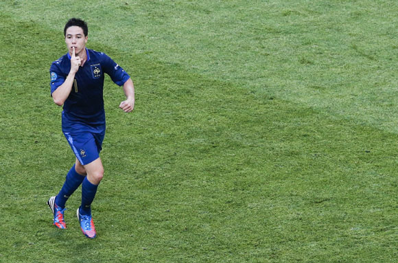France's Samir Nasri celebrates a goal against England during the Euro 2012 Group D soccer match at Donbass Arena in Donetsk