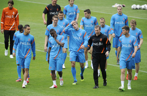 Netherlands soccer players attend a training session during Euro 2012