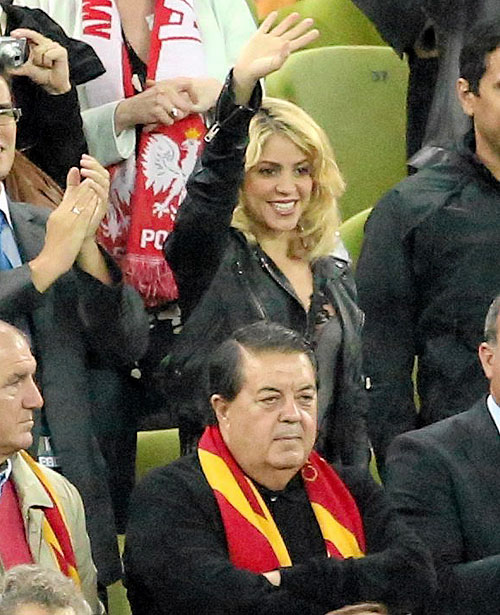 Colombian singer Shakira (centre) is pictured in the stands during the Group C Euro match