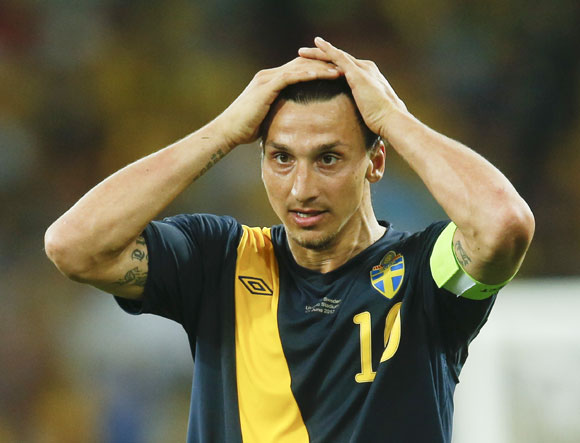 Sweden's Zlatan Ibrahimovic reacts after losing their Group D Euro 2012 soccer match against Ukraine at the Olympic stadium in Kiev