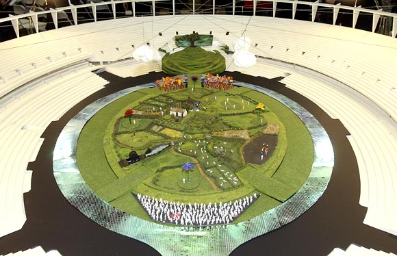 A model of London's Olympic stadium shows it transformed into a British meadow for the opening ceremony, in this undated handout photograph released in London