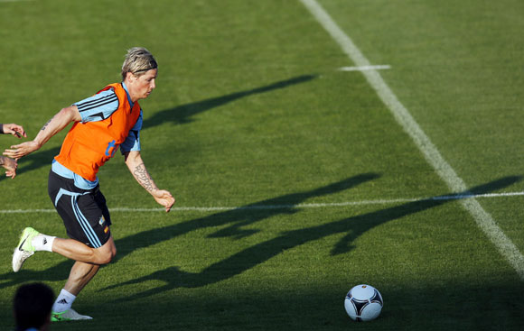 Spain's Fernando Torres attends a training session at Gniewino