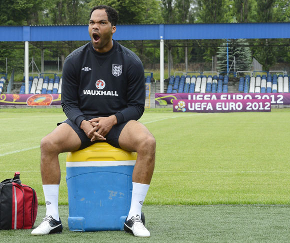 England soccer player Joleon Lescott yawns during a training session during the Euro 2012 at the Hutnik stadium in Krakow