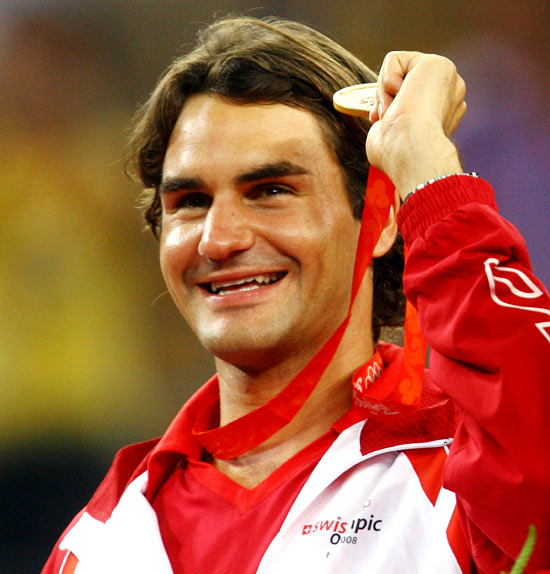 Roger Federer celebrates after winning the men's doubles gold medal at the 2008 Olympic Games in Beijing