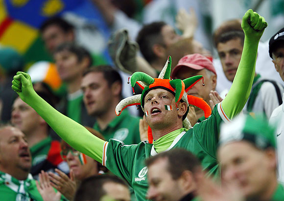 Irish soccer fan cheers