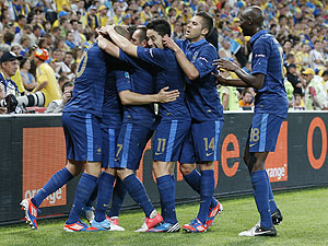 French players celebrate after scoring against Ukraine
