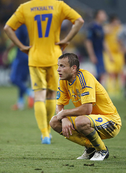 Ukraine's Oleh Gusev is dejected at the end of their match against France