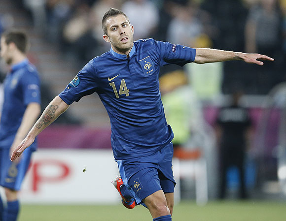 France's Jeremy Menez celebrates after scoring against Ukraine