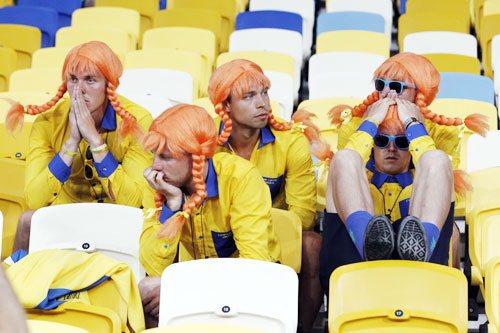 Sweden fans reacts to their team's loss against England