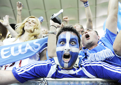 Greece's soccer fans celebrate