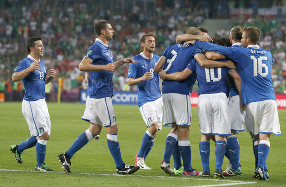 Italy's Antonio Cassano (3R) celebrates his goal with team mates during their Group C match against Ireland at the city stadium in Poznan