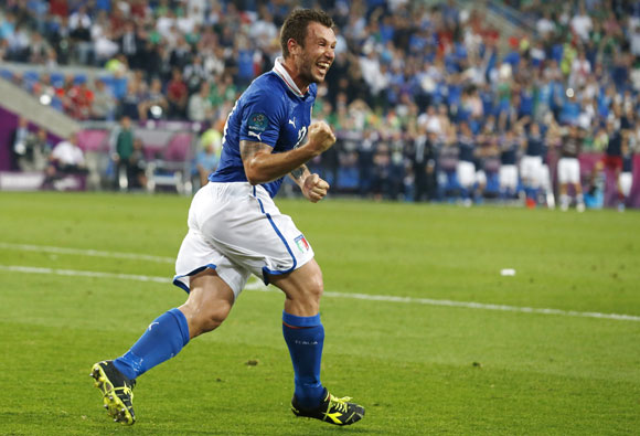Italy's Antonio Cassano celebrates his goal against Ireland during their Group C match in Poznan