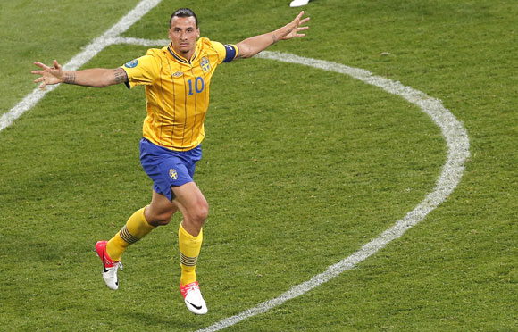 Sweden's Zlatan Ibrahimovic celebrates his goal during their Group D match against France at the Olympic stadium in Kiev