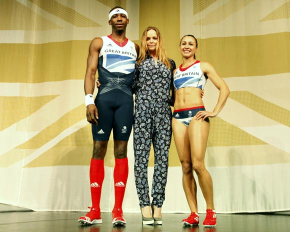 The new Team Great Britain kits designed by British designer Stella McCartney (centre)