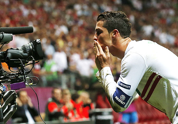 Portugal's Cristiano Ronaldo celebrates after he scores