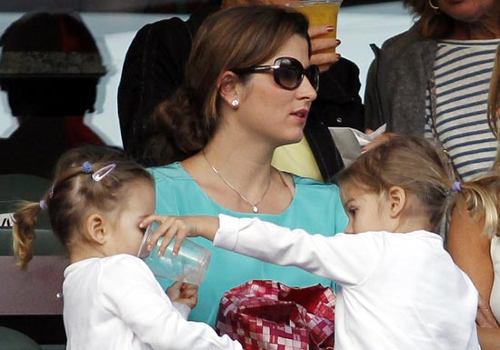 Roger Federer's wife Mirka with their twin daughters Myla Rose and Charlene Riva