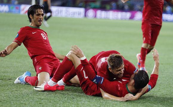 Portuguese players celebrate