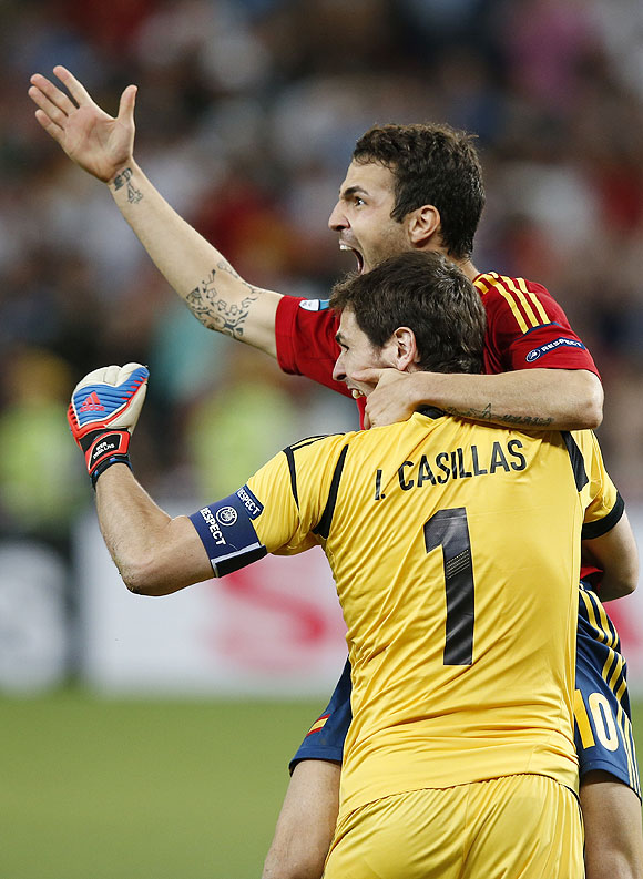Fabregas celebrated with Iker Casillas