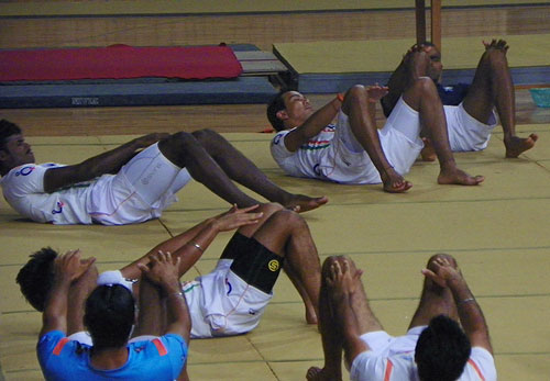 Indian hockey players during core training
