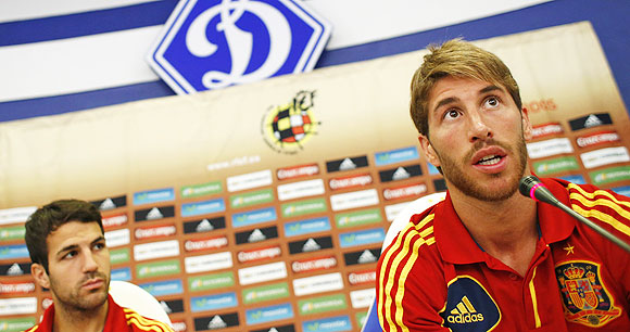 Spain's national soccer players Cesc Fabregas (left) and Sergio Ramos