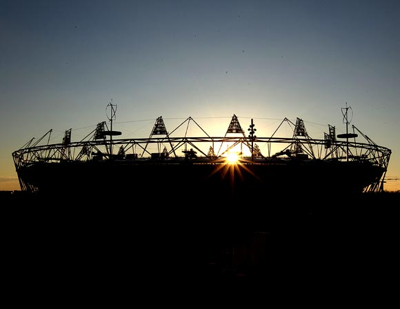 A general view of the Olympic stadium at sunset in London