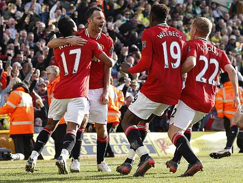 Ryan Giggs celebrates after scoring