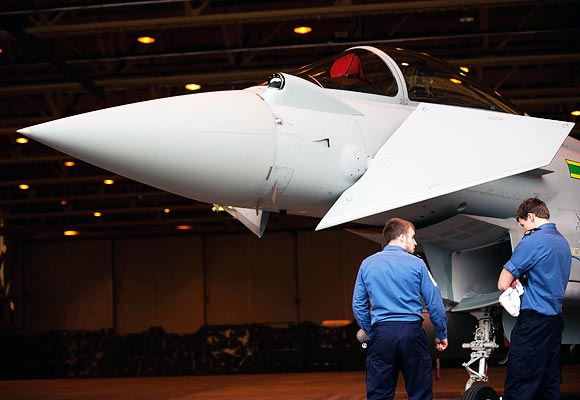 A Typhoon FGR4 which will provide round the clock guard of the Olympic venues