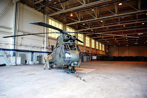 A Helicopter with RAF regiment snipers at RAF Waddington