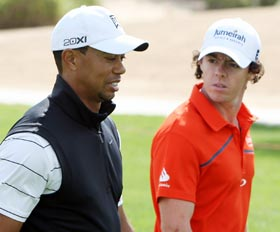 Rory McIlroy (right) with Tiger Woods