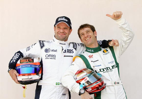 Jarno Trulli (right) with Rubens Barrichello