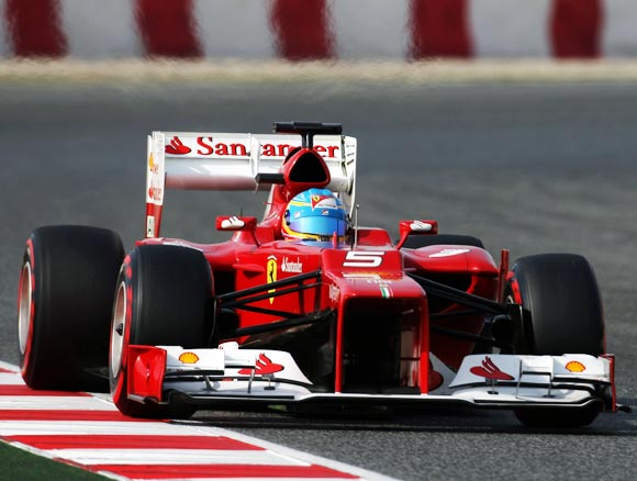 Ferrari driver Fernando Alonso in action during the F1 winter testing
