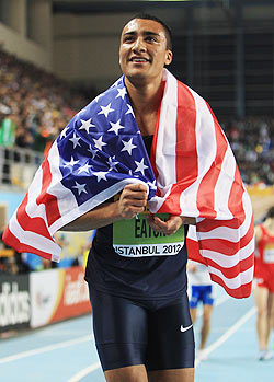 Gold medalist Ashton Eaton of the United States celebrates after a record in the Men's 1000 Metres Heptathlon event