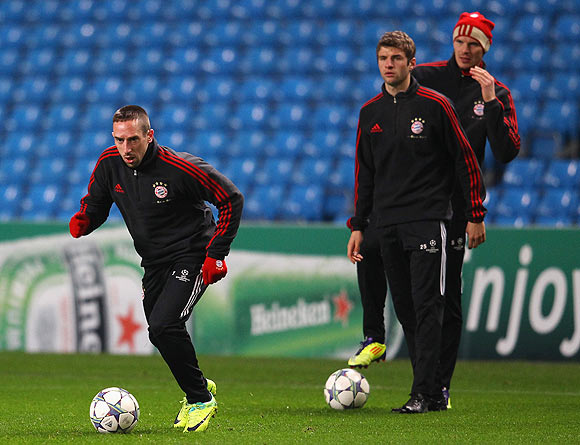 Bayern Munich's Franck Ribery goes through the grind during a training session
