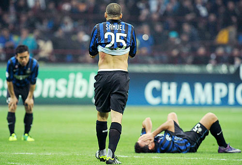 Players of FC Internazionale Milano at the end of the UEFA Champions League
