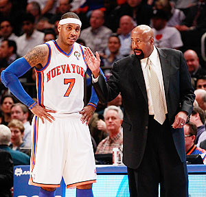 Mike Woodson (left) with Carmelo Anthony