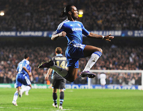 Didier Drogba of Chelsea celebrates as he scores their first goal