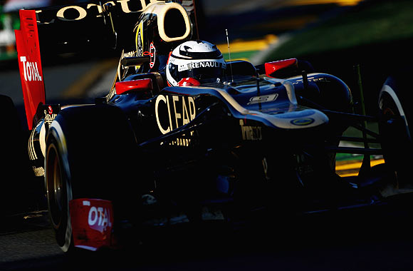 Kimi Raikkonen of Lotus drives during the Australian Formula One Grand Prix at the Albert Park circuit on Sunday