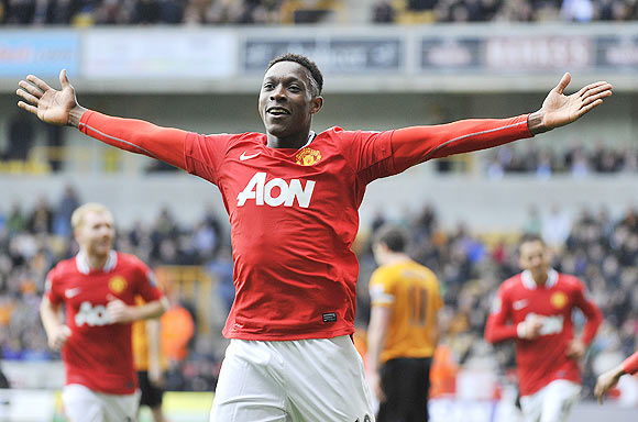 Manchester United's Danny Welbeck celebrates scoring against Wolverhampton Wanderers during their EPL match on Sunday