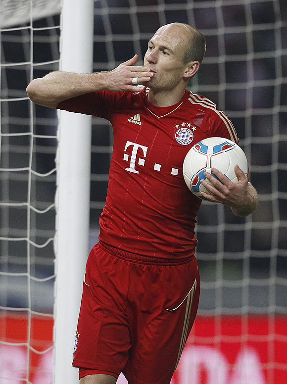 Bayern Munich's Arjen Robben celebrates after scoring against Hertha Berlin on Saturday