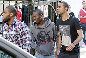 Chelsea's Ashley Cole (right) and Queens Park Rangers' Shaun Wright Phillips (centre) arrive at the London Chest Hospital to visit Muamba on Monday