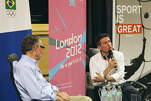 Sebastian Coe (right), chairman of the London Organising Committee for the Olympic Games with Rio 2016 Olympic Games Organising Committee President Carlos Arthur Nuzman