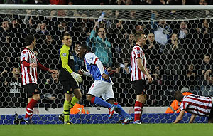 Blackburn Rovers' Junior Hoilett (centre) celebrates after scoring against Sunderland during their English Premier League match on Tuesday