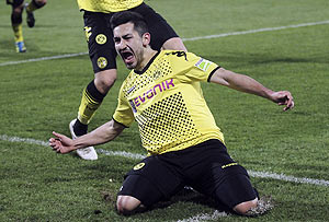 Borussia Dortmund's Ilkay Guendogan celebrates after scoring against Greuther Fuerth during their German semi-final in Fuerth on Tuesday