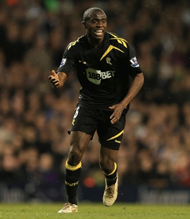 Fabrice Muamba before collapsing in the match
