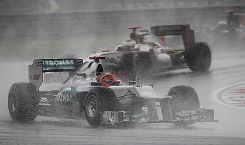 Mercedes Formula One driver Schumacher drives during the Malaysian F1 Grand Prix at Sepang International Circuit